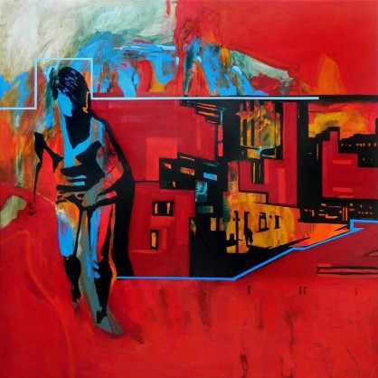 obraz, postacie, miasto, czerwony, sztuka