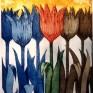 grafika, kolorowe kwiaty, tulipany, sztuka, obraz