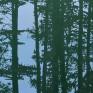 sosny, las, obraz olejny