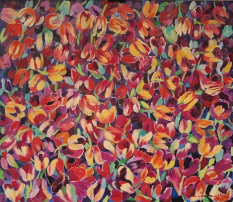 kwiaty, tulipan, bukiet, obrazy, malarstwo, kolor