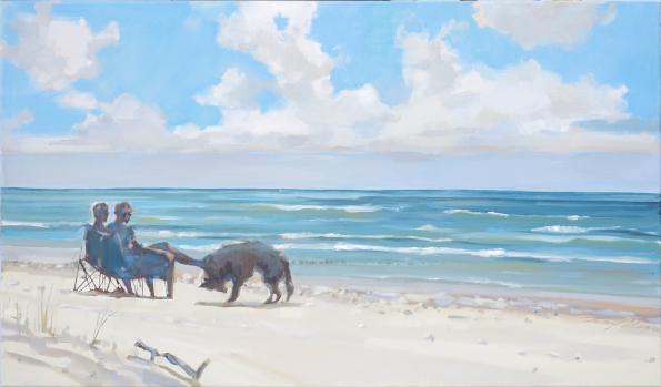 Obraz przedstawiający parę z psem na bałtyckiej plaży.