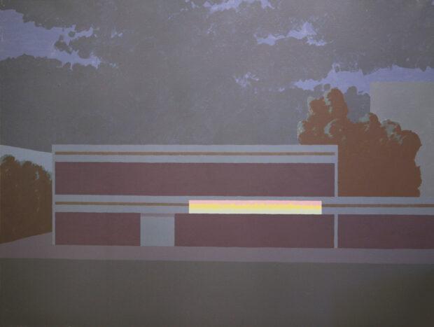 Obraz Roberta Czajki przedstawiający nowoczesny pawilon o zmroku.