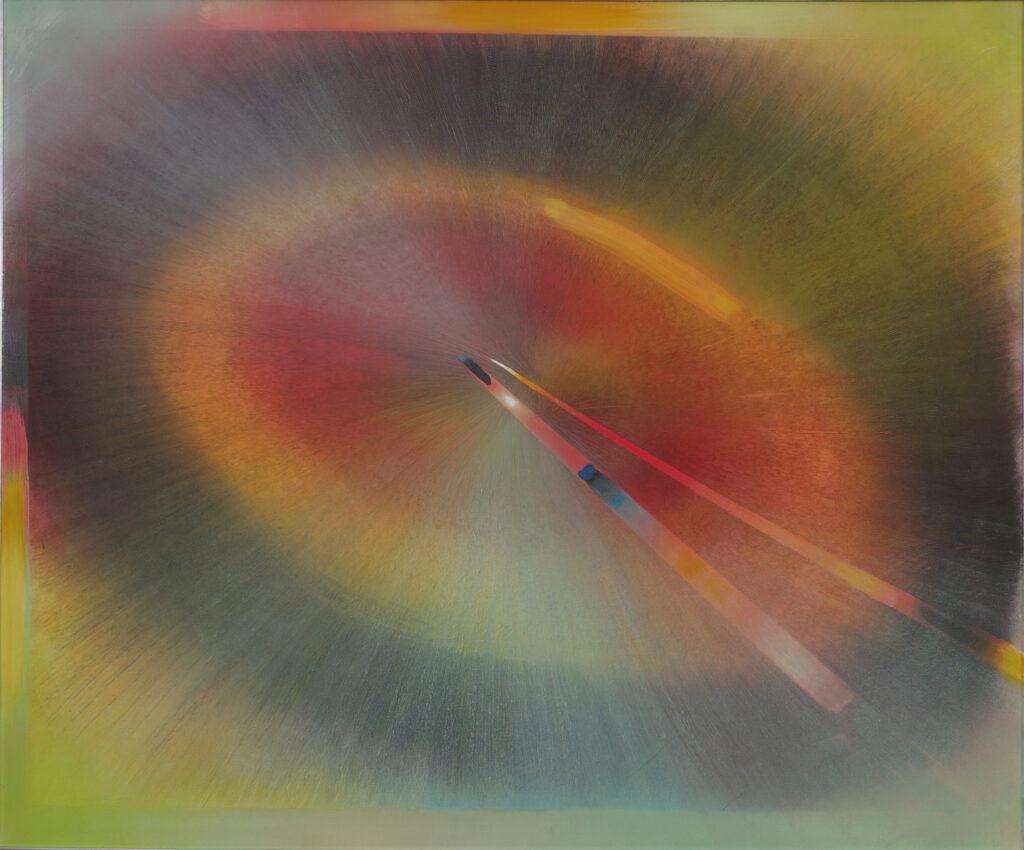 Abstrakcja wyobrażająca zmierzch słońca. Autor obrazu Anna Alicja Trochim