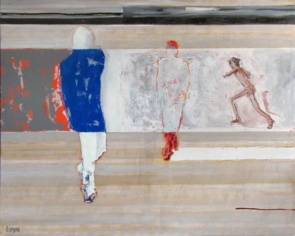 Obraz- Biegacz, autorstwa malarza Krzysztofa Musiała.
