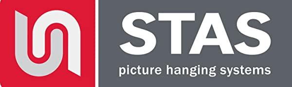 Logo firmy STAS produkującej profesjonalne systemy do wieszania obrazów