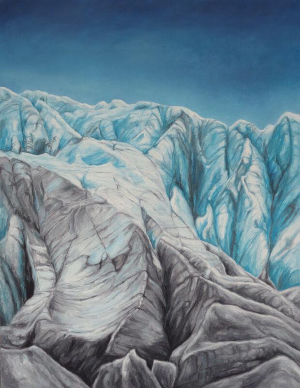Obraz olejny Wita Bogusławskiego przedstawiający lodowiec.