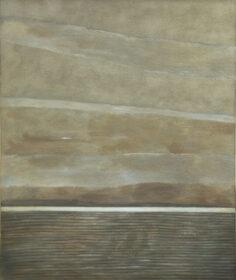 Obraz Barbary Pszczółkowskiej-Kasten przedstawiajacy pejzaż abstrakcyjny w szarościach i brązach