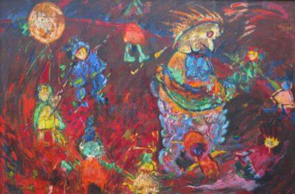 Obraz Pawła Górskiego wykonany w technice enkaustyki na płótnie