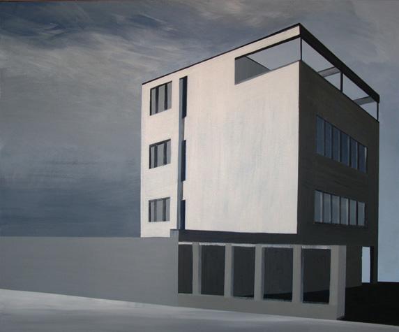 Modernistyczny budynek na Saskiej Kępie namalowany przez Marię Kiesner