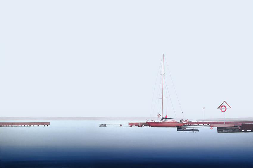 Obraz przedstawiający jachty cumujące w porcie autorstwa Tomasza Kołodziejczyka
