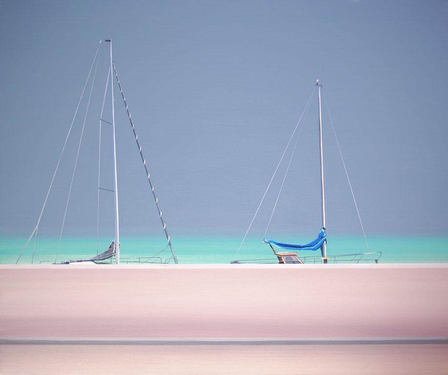 Obraz Tomasza Kołodziejczyka z jachtami w porcie