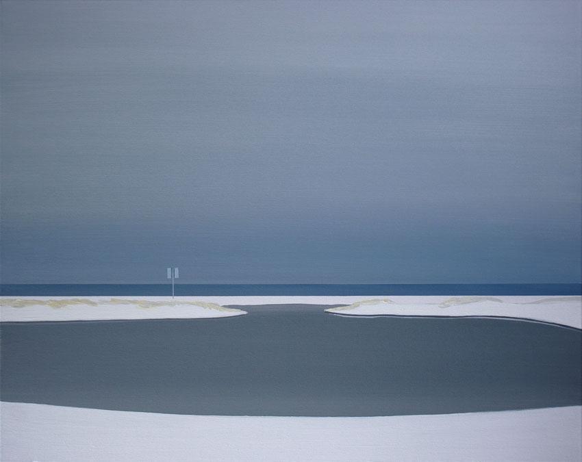 Obraz Tomasza Kołodziejczyka przedstawiający widok na morze po sztormie