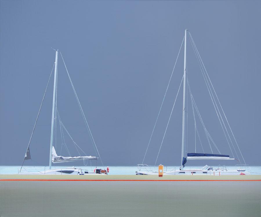 Jachty w porcie na obrazie Tomasza Kołodziejczyka
