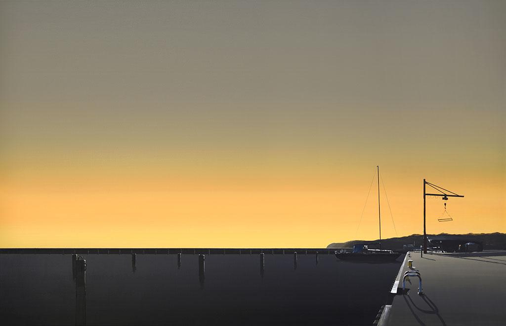Zachód słońca nad morzem na obrazie Tomasza Kołodziejczyka