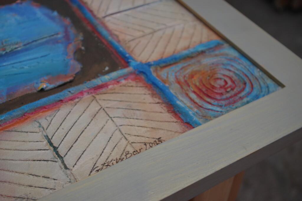 Detal obrazu fakturalnego namalowanego na desce Grażyny Kilanowicz.