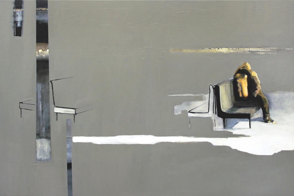 Obraz Krzysztofa Musiała przedstawiający postać siedzącą na peronie.