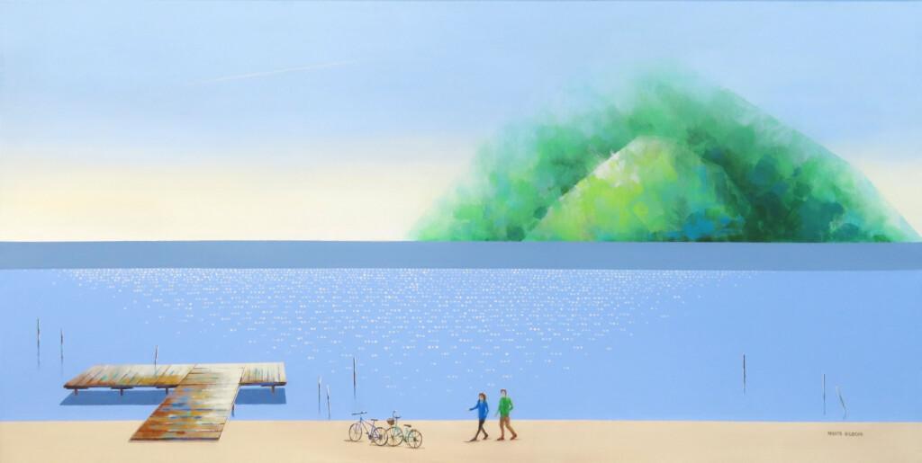 Obraz Marty Bileckiej przedstawiający morze i plaże w tajemniczym świetle