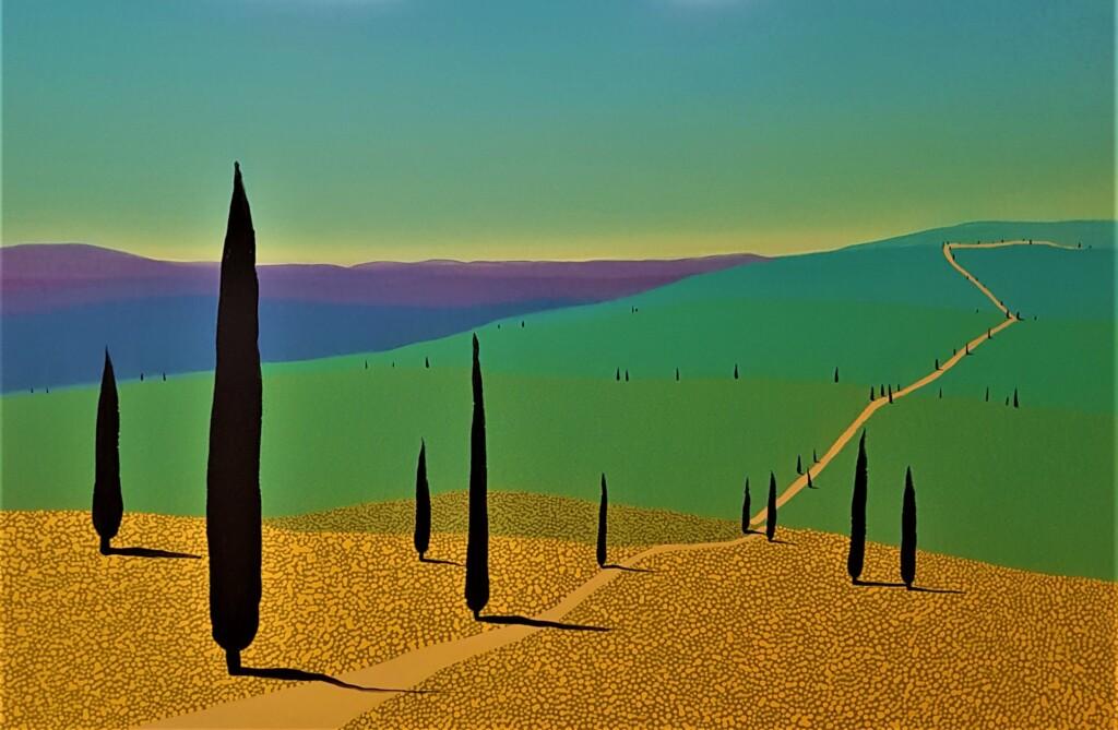 Pejzaż toskański namalowany przez Jacka Malinowskiego.