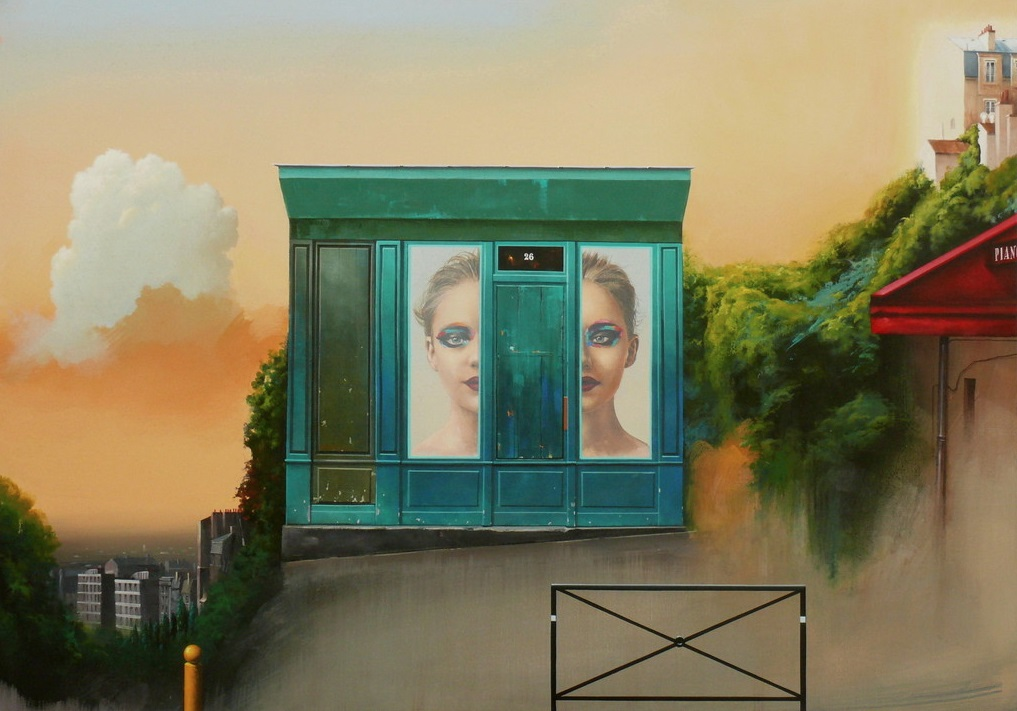 Obraz Henryka Laskowskiego przedstawiający nierealny widok Paryża ze wzgórza Montmartre.