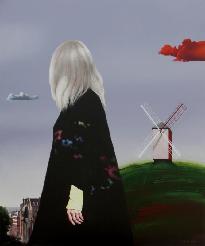 Obraz namalowany przez Henryka Laskowskiego przedstawiający kobietę na tle pejzażu.