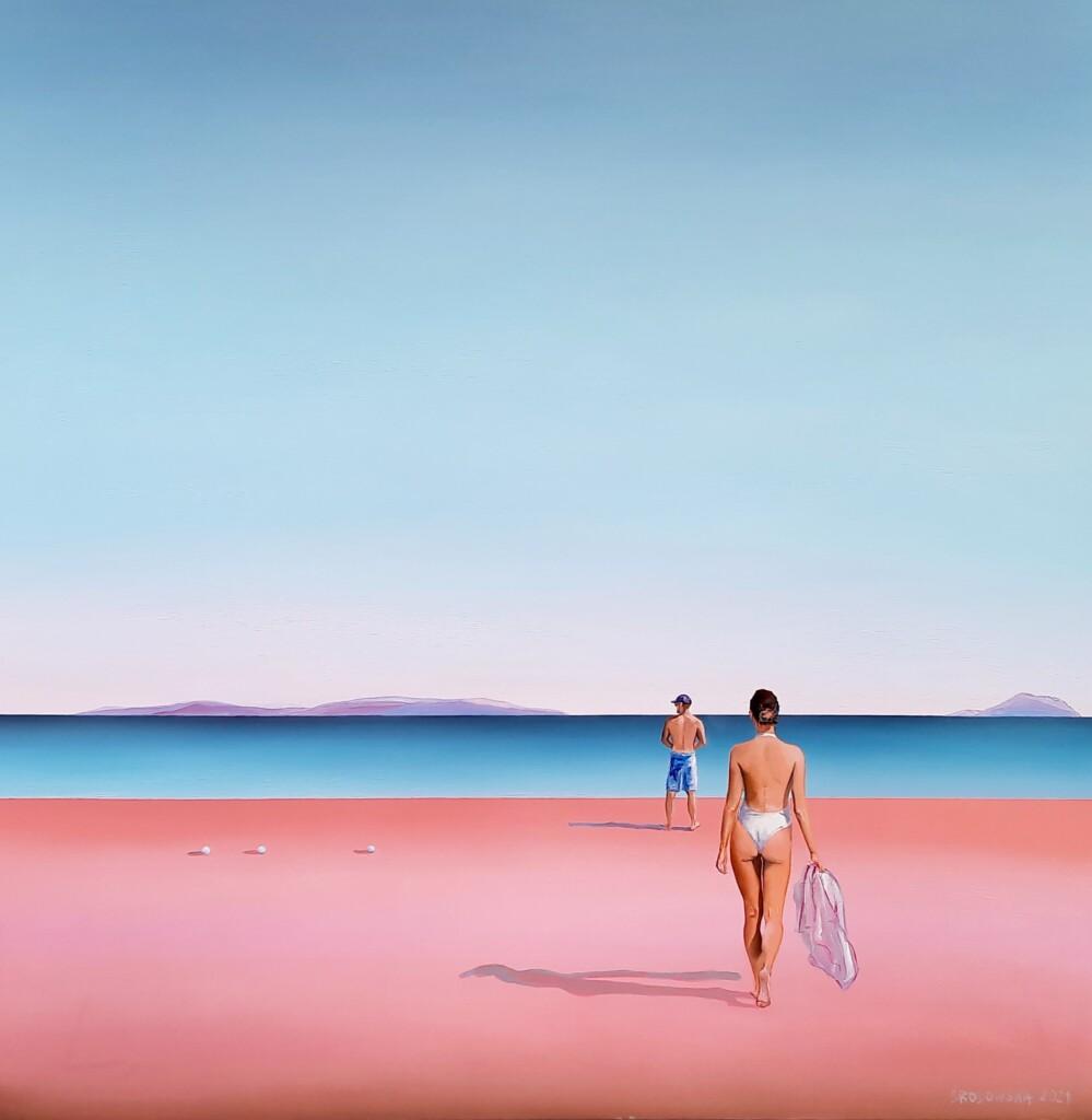 Obraz przedstawiający plażę i morza namalowany przez Katarzynę Środowską.