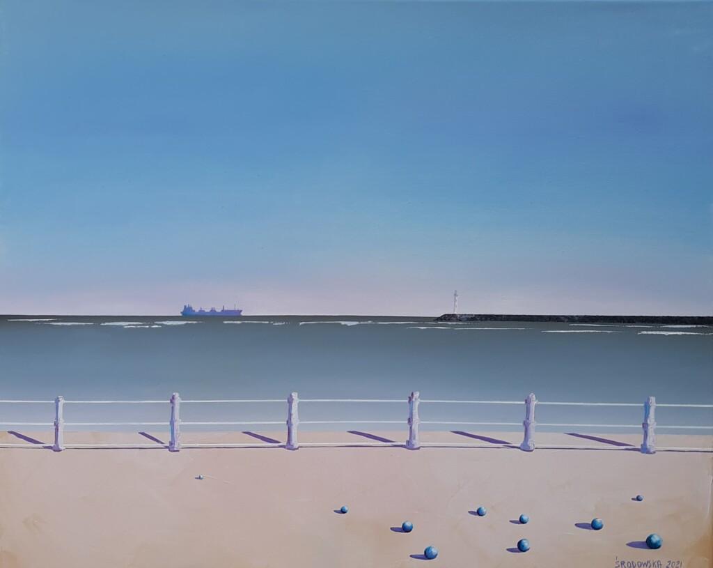 Obraz olejny Katarzyny Środowskiej przedstawiający brzeg morza