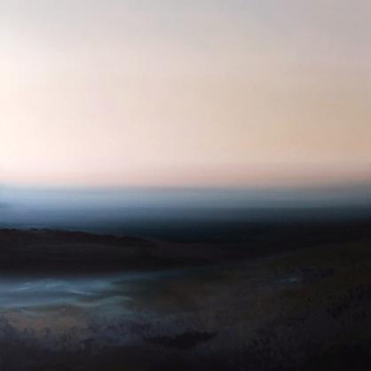 Obraz Urszuli Kałmykow pt. Wschód słońca. Krajobraz podlasia