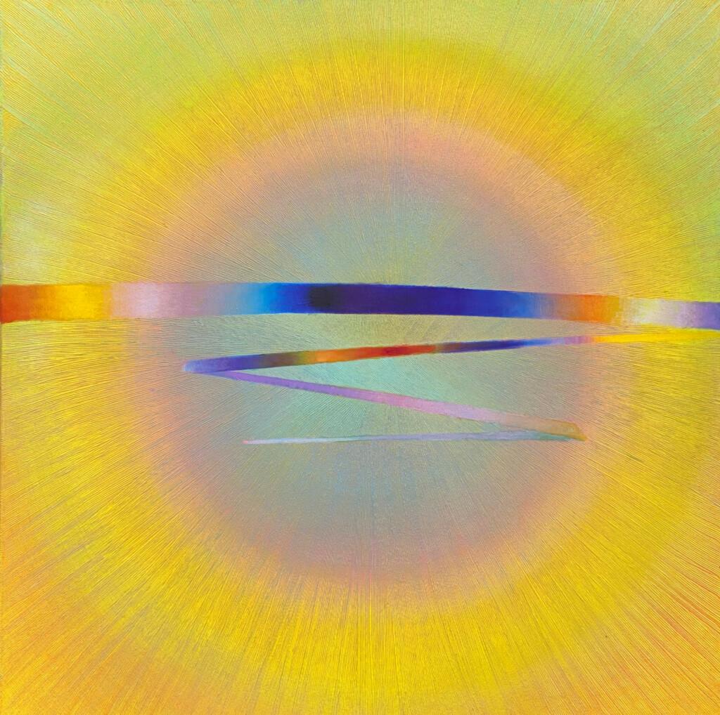 Żółty obraz abstrakcyjny z kołem i promienistymi liniami. Malarstwo Anny Trochim