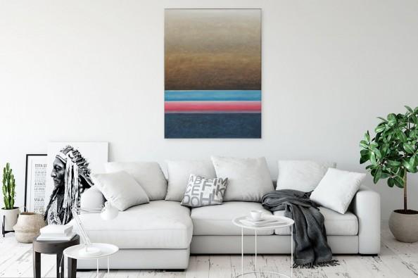 Obraz nad sofą autorstwa artystki Sylwii Dobrzańskiej