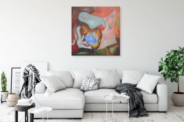 Kolorowa abstrakcja nad kanapą