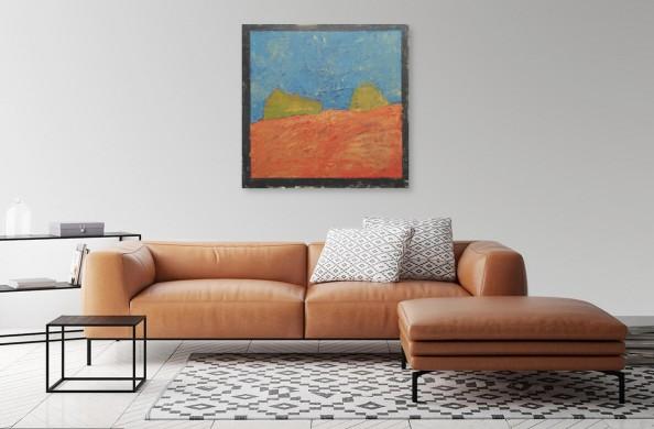 Obraz abstrakcyjny w salonie, autor Józef Starowieyski