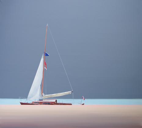 Obraz morski z jachtem przy nabrzeżu portowym, Tomasza Kołodziejczyka