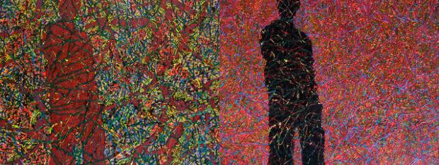 Dwie wersje obrazu olejnego Jolanty Johnsson pt. Zaplątany.