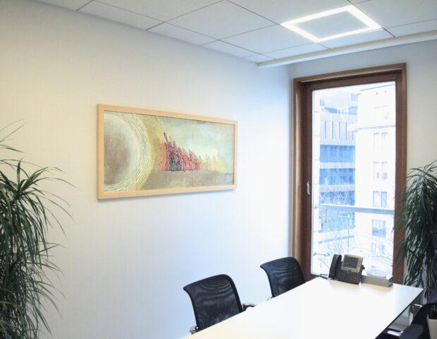 Oryginalny obraz jako dekoracja biura. Obraz we wnętrzu namalowany przez Julię Mygę